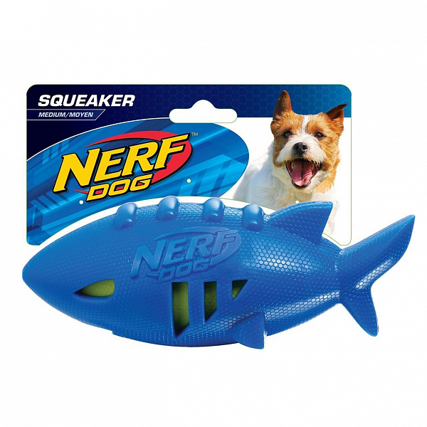 Nerf Pet Super Soaker Shark Football Игрушка для собак Мяч для регби Акула, плавающая